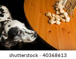 temptation. dog and his food. | Shutterstock . vector #40368613