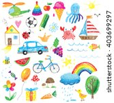 kids drawings collection | Shutterstock .eps vector #403699297