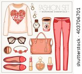 vector fashion set of woman's... | Shutterstock .eps vector #403706701