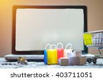 laptop blank screen and hopping ... | Shutterstock . vector #403711051