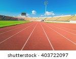Red Running Track In Stadium On ...