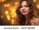 young beautiful woman with long ... | Shutterstock . vector #403738489