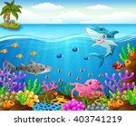 cartoon shark  under the sea | Shutterstock .eps vector #403741219