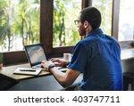 man working coffee shop...   Shutterstock . vector #403747711