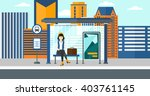 woman waiting for bus. | Shutterstock .eps vector #403761145