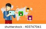 man holding tablet computer... | Shutterstock .eps vector #403767061