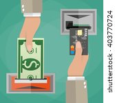 atm terminal usage concept. one ... | Shutterstock .eps vector #403770724
