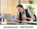 businessman suffering an... | Shutterstock . vector #403781344