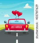 just married car with balloons... | Shutterstock .eps vector #403787629