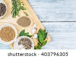 assorted  spices  cumin  pepper ... | Shutterstock . vector #403796305