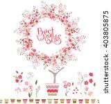 stylized tree in cute flower... | Shutterstock .eps vector #403805875