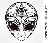 alien face icon. halloween ... | Shutterstock .eps vector #403808191