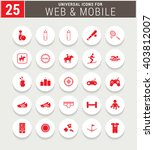 25 Red Universal Icon Set....