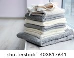 towels on windowsill | Shutterstock . vector #403817641