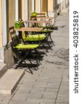 tables and chairs of small... | Shutterstock . vector #403825819