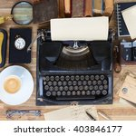 black vintage typewriter on... | Shutterstock . vector #403846177