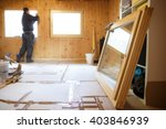 worker in the background... | Shutterstock . vector #403846939
