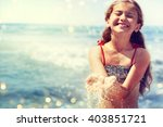little girl playing in the... | Shutterstock . vector #403851721