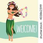 hawaii woman  with flower lei... | Shutterstock .eps vector #403862599