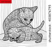 cat mother and her kitten  ... | Shutterstock .eps vector #403876795