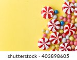 Candies Colorful Mix On Yellow...