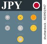 Yen Coins Set. Vector...