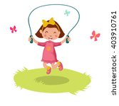 little cartoon girl skipping... | Shutterstock .eps vector #403910761