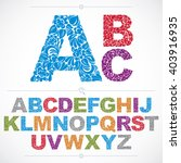 floral alphabet sans serif...   Shutterstock .eps vector #403916935