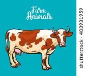 vector sketch of a cow on a...