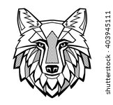 vector black wolf head on white ... | Shutterstock .eps vector #403945111