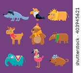 cute animals collection of flat ... | Shutterstock .eps vector #403945621