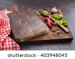 cutting board and spices.  hot...   Shutterstock . vector #403948045