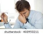tired office worker touching... | Shutterstock . vector #403953211