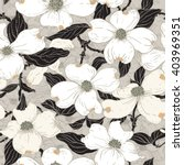 Dogwood Seamless Pattern. Hand...