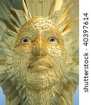 Abstract Golden Human Face Wit...