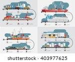 flat  isometric transport cargo ... | Shutterstock .eps vector #403977625