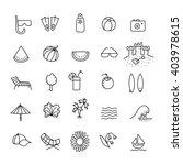 summer line icon set. hand... | Shutterstock .eps vector #403978615
