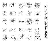summer line icon set. hand... | Shutterstock .eps vector #403978621
