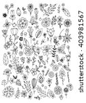 set of black and white doodle... | Shutterstock .eps vector #403981567