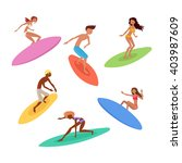 set of cute surfers with... | Shutterstock .eps vector #403987609
