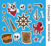 pirates themed freehand sticker ... | Shutterstock .eps vector #403994065