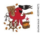 lovely pirate octopus in vector.... | Shutterstock .eps vector #403994071