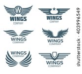 Vector Wings Logo Set. Winged...