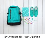backpack and school supplies on ... | Shutterstock . vector #404015455