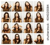 collage of woman different... | Shutterstock . vector #404020084