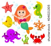 mermaid and sea animals. fish ... | Shutterstock .eps vector #404021305