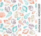 vector sea shells seamless...   Shutterstock .eps vector #404022889
