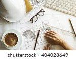 image of engineer hands working ... | Shutterstock . vector #404028649