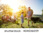 extended family cooking... | Shutterstock . vector #404036059