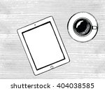 top view wood table  laptop and ... | Shutterstock .eps vector #404038585